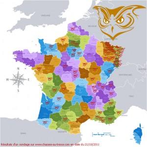 Localisation de la Chouette d'Or en France