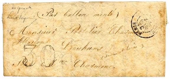 lettre ballon monté de 1870