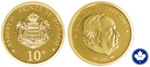 Pièce en Or 10 euros de Monaco