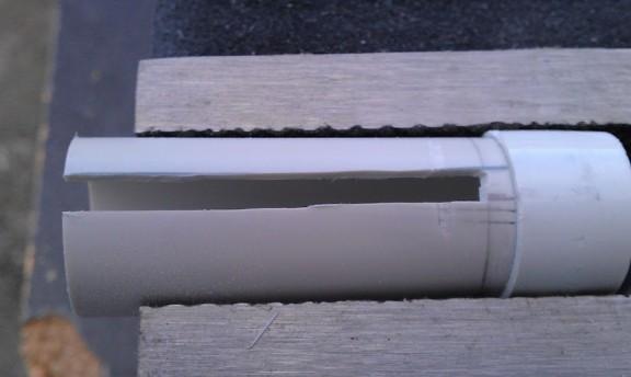 Cryptex - Photo 11 : Découpe transverse dans le tube dans le tube de diamètre 25mm