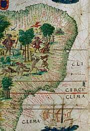 Atlas Miller, planche du Brésil, portulan, 1519 - BnF, département des Cartes et plans