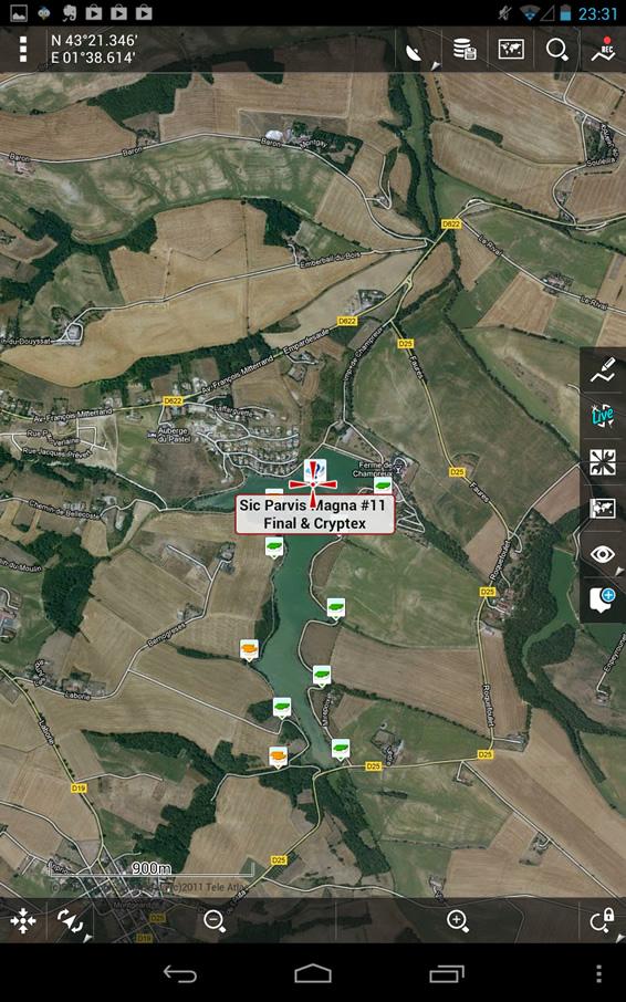 Locus – Ecran de navigation - Sélection d'une cache – Wallace