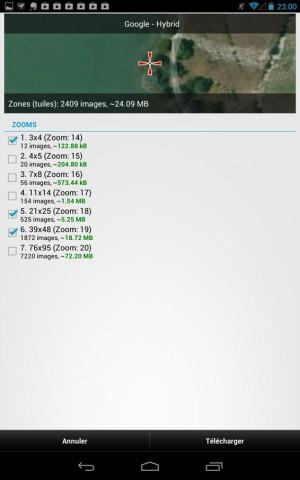 Locus – Ecran de sélection des niveaux de zoom à télécharger – Wallace