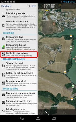 Locus – Menu Fonctions et accès aux outils Geocaching – Wallace