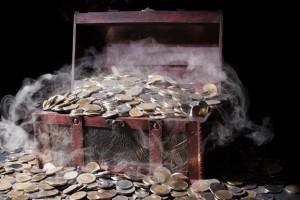 Coffre de monnaies anciennes