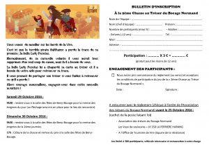 Deuxième chasse au trésor du bocage normand - Bulletin d'inscription