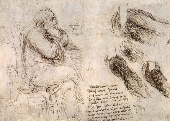Léonard de Vinci - Old Man with Water Studies