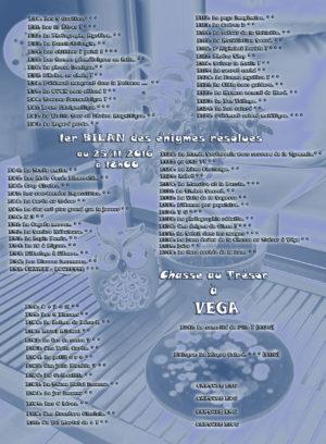Chasse au Trésor à VEGA - ENigmes résolues - 1