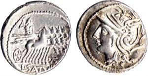 monnaie romaine : Appuleia (104 av J-C) - Lucius Appuleius Saturninus
